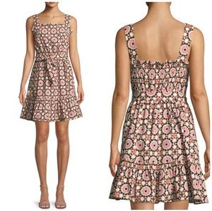 Kate Spade Pink Floral Mosaic Poplin Dress Size 4